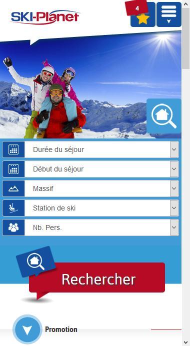 Site mobile Ski Planet : le ski comme vous l'aimez