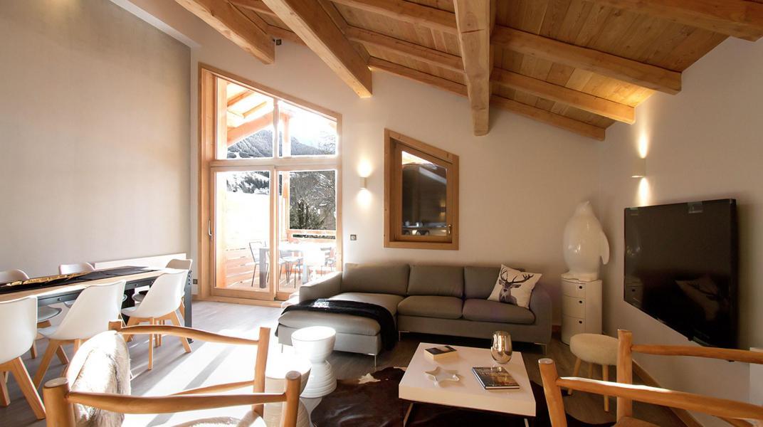 Ski verhuur Chalet Nuance de Gris - Alpe d'Huez - Woonkamer