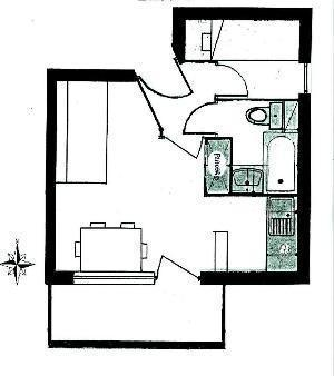 Location au ski Studio cabine 4 personnes (63) - Residence Le Bellecote - Arêches-Beaufort - Plan