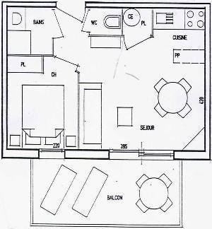 Location au ski Appartement 2 pièces 4 personnes (59) - Residence Le Montagnard - Arêches-Beaufort - Plan