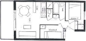 Location au ski Appartement 3 pièces 4 personnes (64) - Residence Oree Des Pres - Arêches - Plan