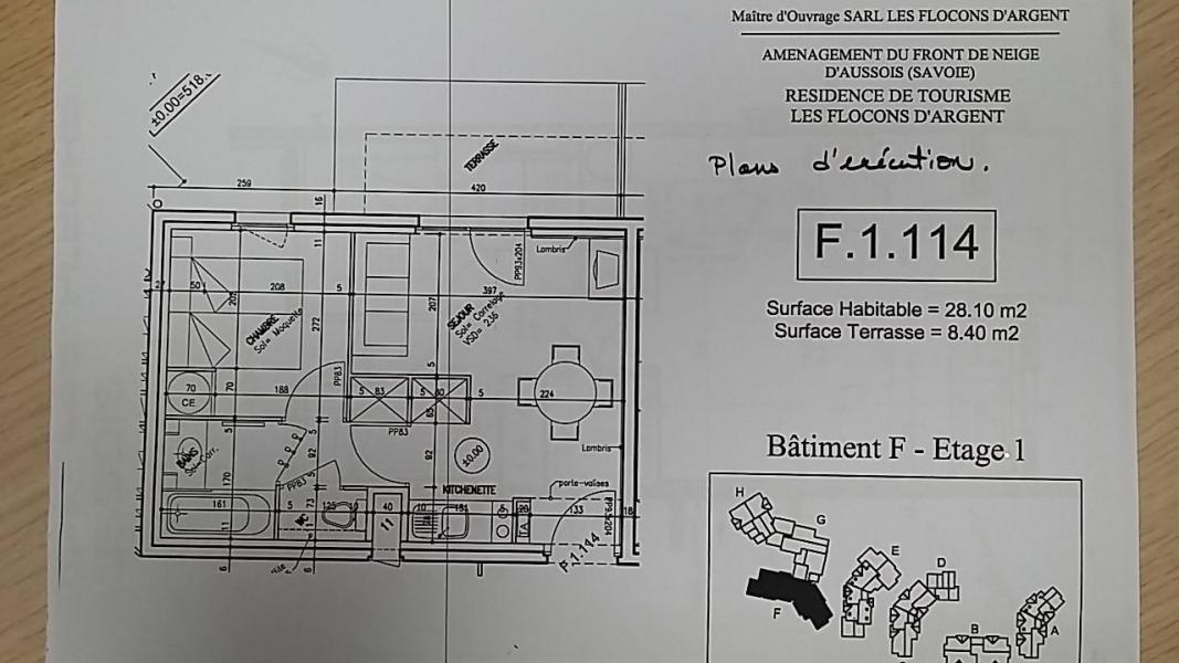 Skiverleih 2-Zimmer-Appartment für 4 Personen (F1.114) - La Résidence les Flocons d'Argent - Aussois - Plan