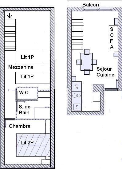 Skiverleih Wohnung 2 Mezzanine Zimmer 4 Leute (683) - La Résidence les Sétives - Aussois