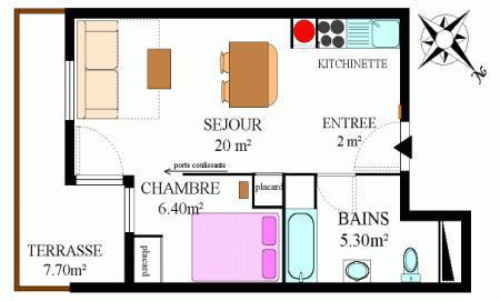 Rent in ski resort 2 room apartment 4 people (318) - Résidence la Combe II - Aussois