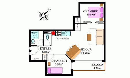 Location au ski Appartement 2 pièces coin montagne 6 personnes (334M) - Résidence la Combe II - Aussois - Plan