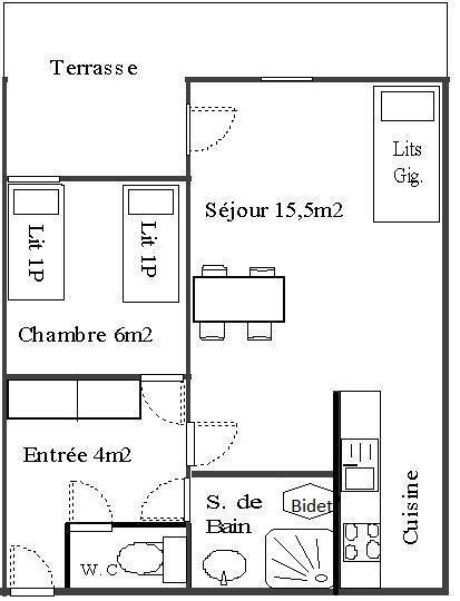 Аренда на лыжном курорте Апартаменты 2 комнат 4 чел. (1) - Résidence La Corniche - Aussois - план