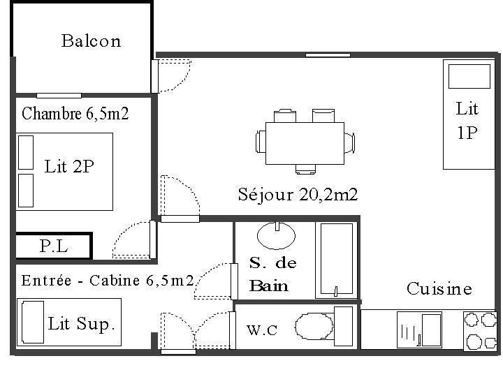 Skiverleih 2-Zimmer-Berghütte für 4 Personen (113) - Résidence La Corniche - Aussois - Plan