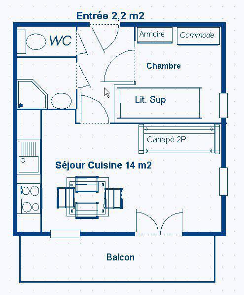 Skiverleih 2-Zimmer-Appartment für 4 Personen (214) - Résidence Le Genevray - Aussois - Plan