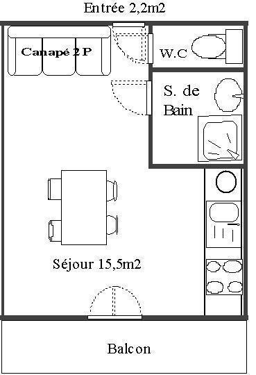 Skiverleih Studio für 2 Personen (103) - Résidence Le Genevray - Aussois - Plan