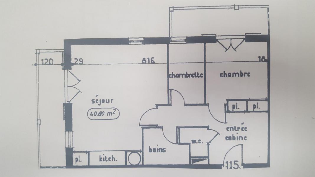 Skiverleih 2-Zimmer-Holzhütte für 6 Personen (115) - Résidence Le Genevray - Aussois - Plan