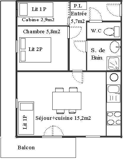 Location au ski Appartement 2 pièces cabine 4 personnes (114) - Résidence Le Genevray - Aussois - Plan