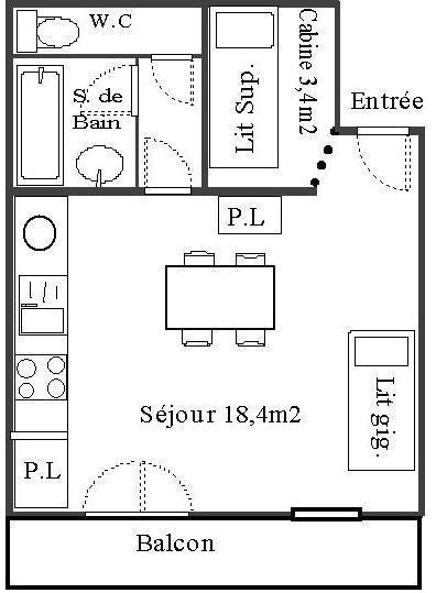 Skiverleih Studio Kabine für 4 Personen (55) - Résidence Les Fleurs - Aussois - Plan