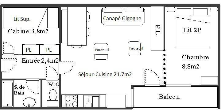 Skiverleih 2-Zimmer-Holzhütte für 6 Personen (128) - Résidence Les Fleurs - Aussois - Plan