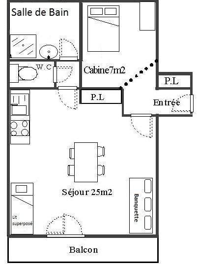 Skiverleih Studio Kabine für 4 Personen (29) - Résidence Les Fleurs - Aussois - Plan