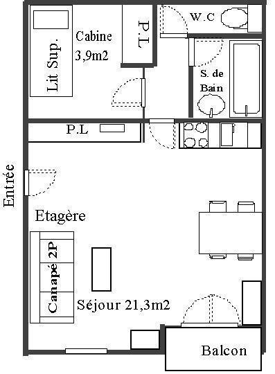 Skiverleih Studio Kabine für 4 Personen (30) - Résidence Les Fleurs - Aussois - Plan
