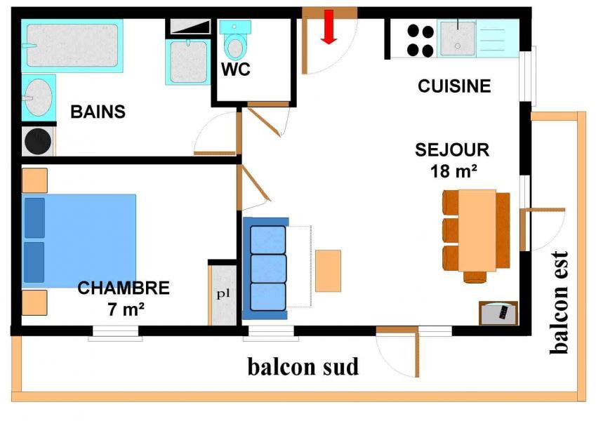 Location au ski Appartement 2 pièces 4 personnes (005) - Résidence les Sports - Aussois
