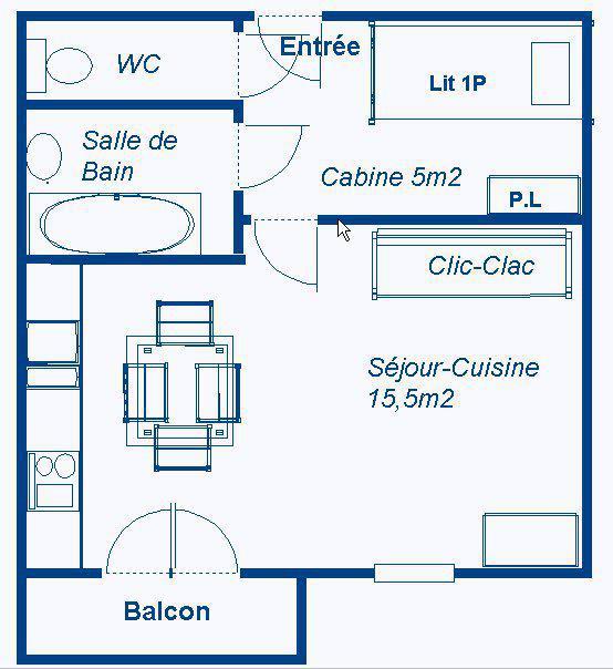 Skiverleih Studio Schlafnische 3 Personen (STS168) - Résidence St Sébastien 1 - Aussois - Plan
