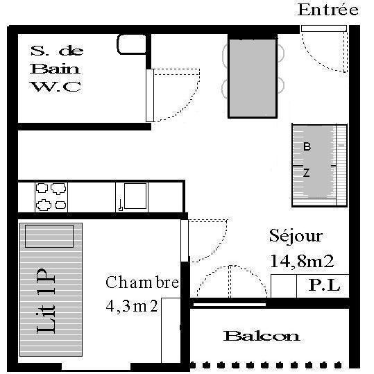 Skiverleih Studio Schlafnische 3 Personen (STS177) - Résidence St Sébastien 1 - Aussois