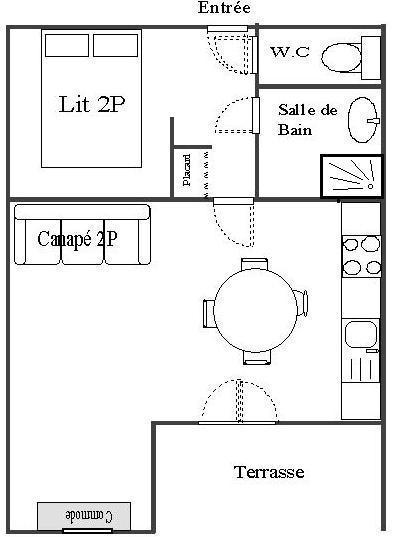 Skiverleih Studio Schlafnische 4 Personen (STS4) - Résidence St Sébastien 2 - Aussois - Plan