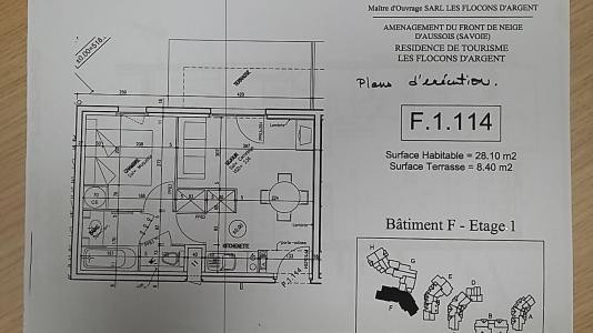 Rent in ski resort 2 room apartment 4 people (F1.114) - La Résidence les Flocons d'Argent - Aussois - Plan