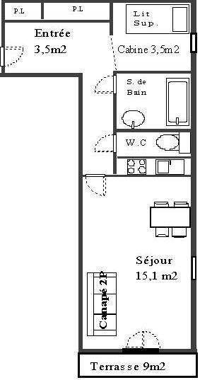 Rent in ski resort Studio cabin 4 people (22) - La Résidence les Sétives - Aussois - Plan