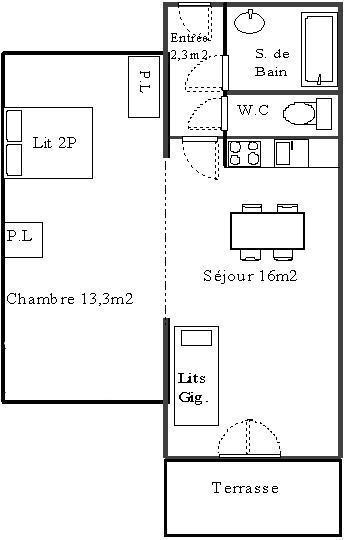 Rent in ski resort 2 room apartment 4 people (611) - La Résidence les Sétives - Aussois - Plan