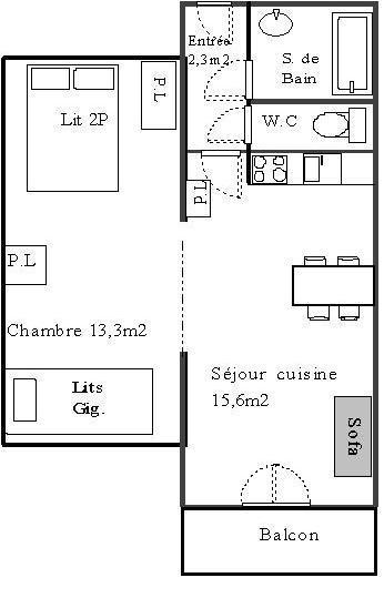 Rent in ski resort 2 room apartment 4 people (621) - La Résidence les Sétives - Aussois