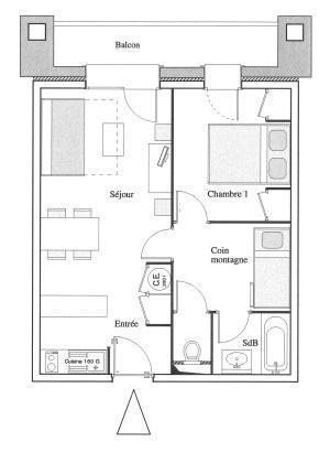 Location au ski Appartement 2 pièces cabine 6 personnes - Residence Chalet Le Clos D'aussois - Aussois - Plan