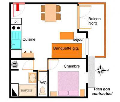 Location au ski Appartement 2 pièces 4 personnes (206) - Résidence la Combe - Aussois - Plan