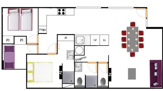 Location au ski Appartement 4 pièces 8 personnes (400) - Résidence la Combe III - Aussois - Plan