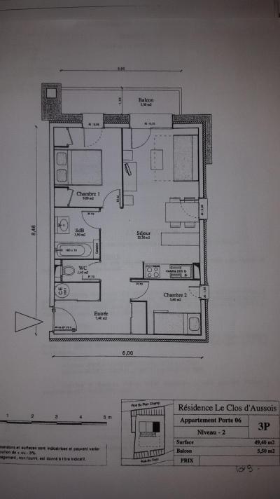 Аренда на лыжном курорте Апартаменты 3 комнат 6 чел. (CA6) - Résidence le Clos d'Aussois - Aussois - план