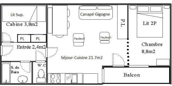 Rent in ski resort 2 room apartment cabin 6 people (128) - Résidence Les Fleurs - Aussois - Plan