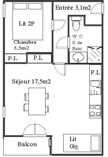 Rent in ski resort 2 room apartment 4 people (127) - Résidence Les Fleurs - Aussois - Plan