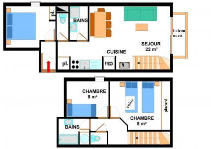 Location au ski Appartement duplex 4 pièces 8 personnes (015) - Résidence les Sports - Aussois - Plan