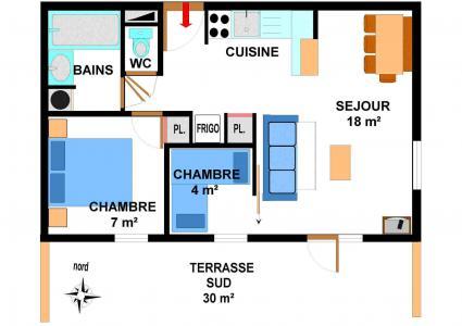 Location au ski Appartement 3 pièces 6 personnes (001) - Résidence les Sports - Aussois - Plan