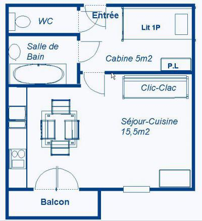 Rent in ski resort Studio sleeping corner 3 people (STS168) - Résidence St Sébastien 1 - Aussois - Plan
