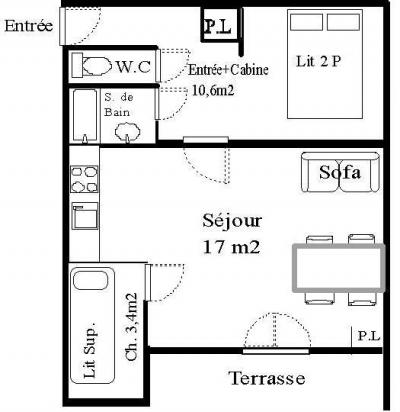 Rent in ski resort Studio cabin 4 people (STS144) - Résidence St Sébastien 2 - Aussois