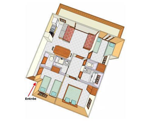 Location au ski Appartement 4 pièces 8 personnes - Chalet Cristal - Champagny-en-Vanoise - Plan