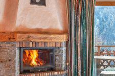 Location au ski Chalet Grand Arbet - Champagny-en-Vanoise - Cheminée