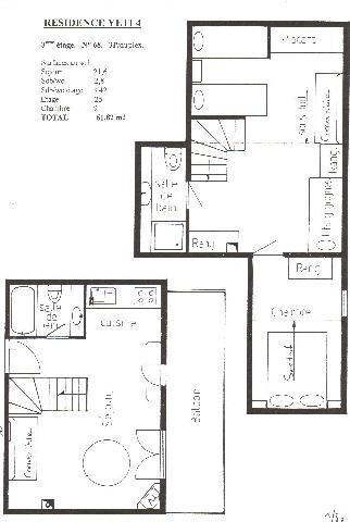 Rent in ski resort 3 room duplex apartment 6 people (YT4068) - Résidence Yéti - Châtel - Plan