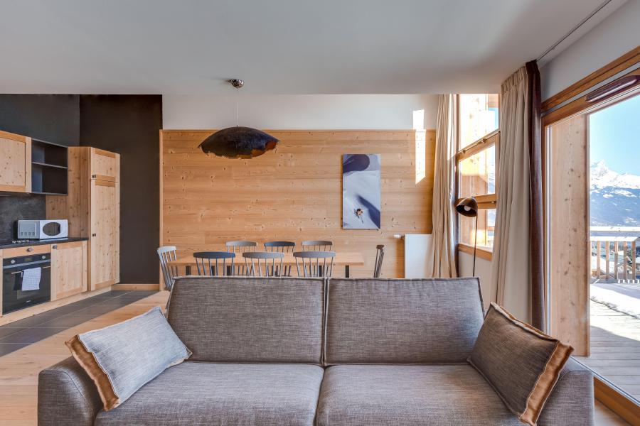 Location au ski Chalet semi-individuel 4 pièces 8 personnes (triplex) - Résidence les Fermes du Mont Blanc - Combloux - Séjour
