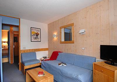 Location au ski Residence Les Brigues - Courchevel - Canapé