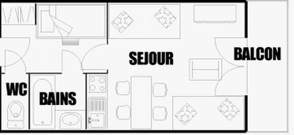 Location au ski Studio coin montagne 4 personnes (814) - Residence Grand Massif - Flaine