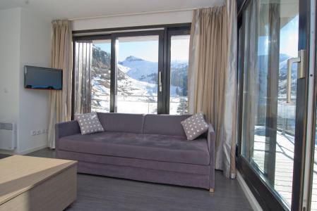 Skiverleih Résidence les Terrasses de Veret - Flaine - Kleines Wohnzimmer