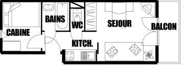 Location au ski Studio cabine 4 personnes (307) - Residence Sagittaire - Flaine - Plan