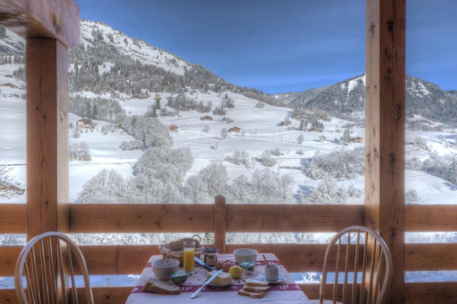 Vacances en montagne Résidence les Chalets des Evettes - Flumet - Extérieur hiver