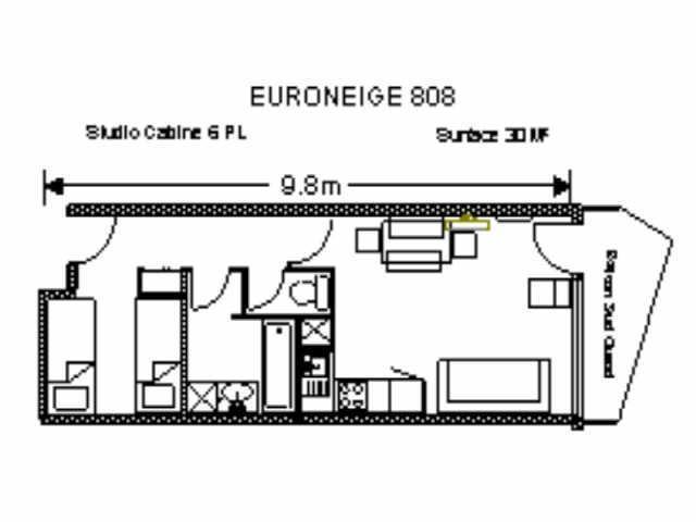 Location au ski Studio 6 personnes (EUR808) - Residence Euroneige - Gourette
