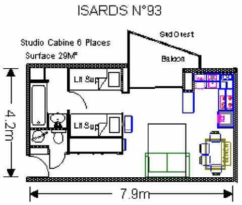 Location au ski Studio 6 personnes (ISA93) - Residence Isards - Gourette - Plan