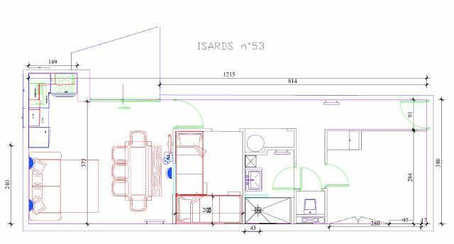 Location au ski Appartement 3 pièces 8 personnes (ISA53) - Residence Isards - Gourette - Plan