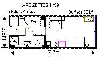 Location au ski Studio 4 personnes (ARC39) - Residence Les Arcizettes - Gourette